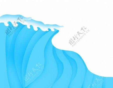 蓝色水流水浪