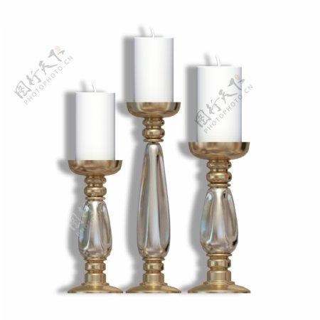 欧式家具三个蜡烛灯台