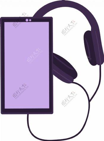 扁平风手机耳麦元素