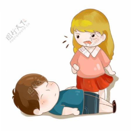 生病晕倒的小男孩与慌乱的女孩