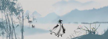中国古代剑客banner背景图