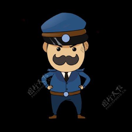 生气的警察装饰插画
