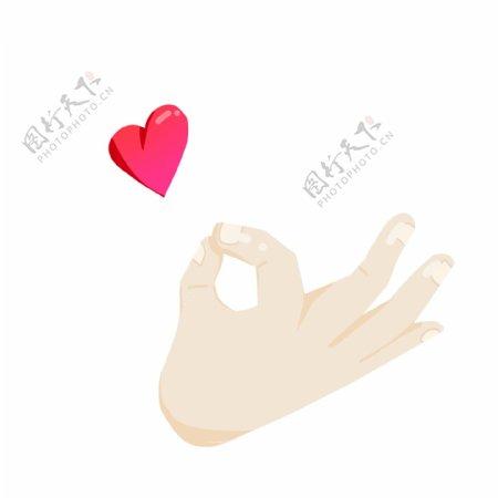 爱心爱情OK手势