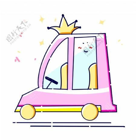 小型粉色汽车