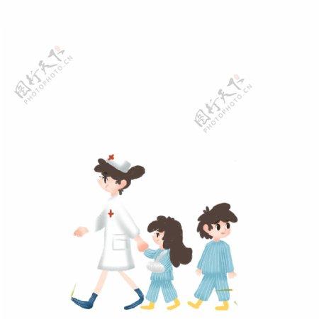 护士姐姐带着两个生病的小孩免扣图