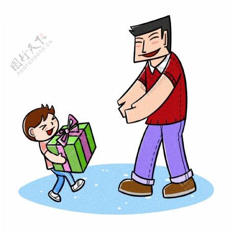 卡通父亲节夸张风孩子送大礼物png透明底