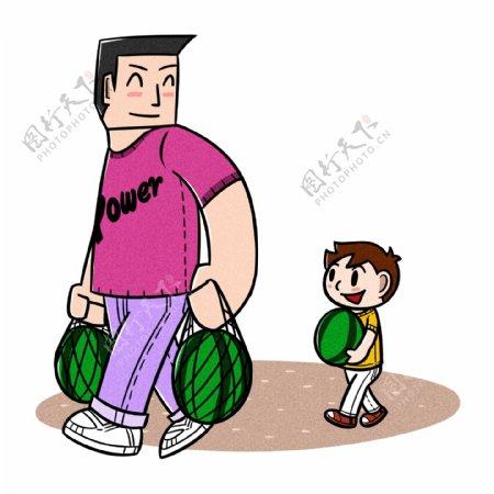 卡通父亲节父子夸张风买西瓜png透明底