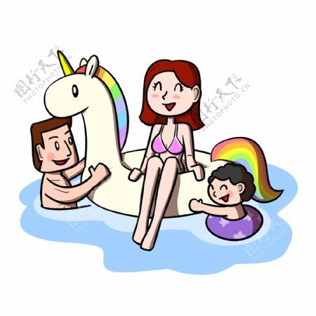 卡通全家人游泳嬉戏png透明底