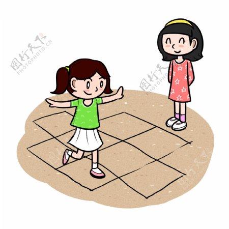 卡通儿童节回忆童年一起玩游戏png透明底