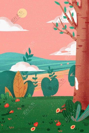 卡通植物风景免抠图