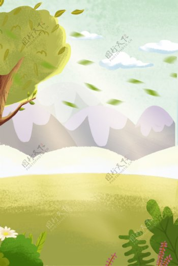 卡通植物和草地免抠图