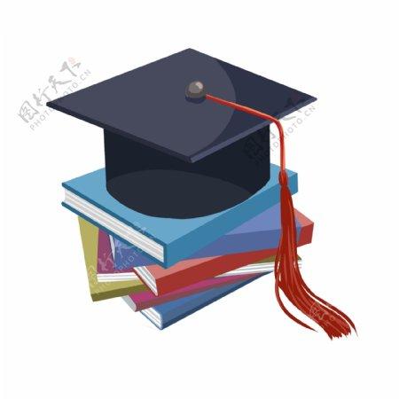手绘毕业季黑色学士帽书本免抠png