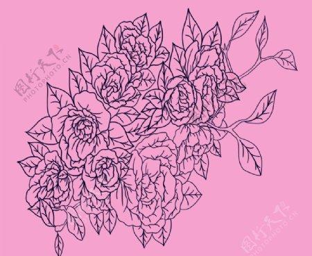 黑白钢笔画产品图案设计元素PS