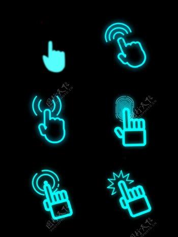 科技感指纹验证图标小手点击元素GIF
