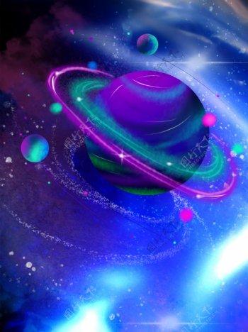 手绘闪耀星河天体宇宙背景
