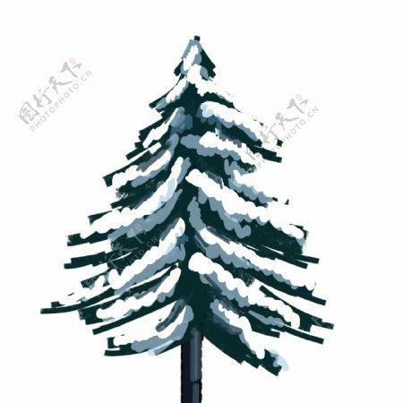 雪景树手绘松树下雪