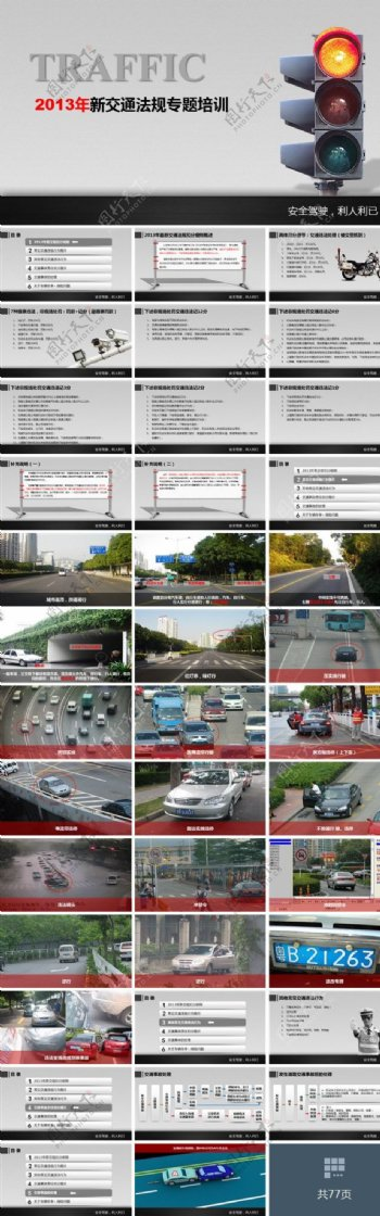 交通法规专题培训ppt背景模板