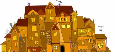精美房子建筑卡通城堡迷宫设计素