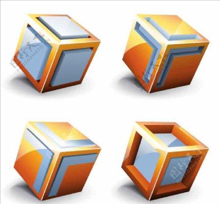 立方体宝石商标图标AI素材