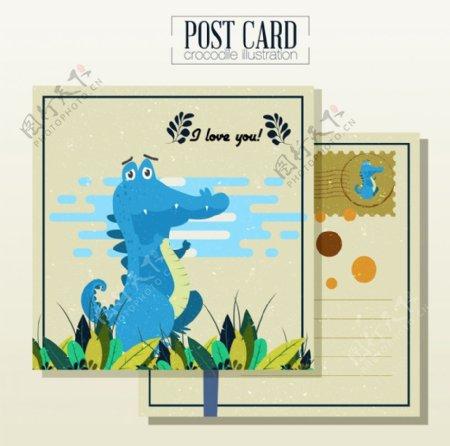 恐龙明信片正反面鳄鱼