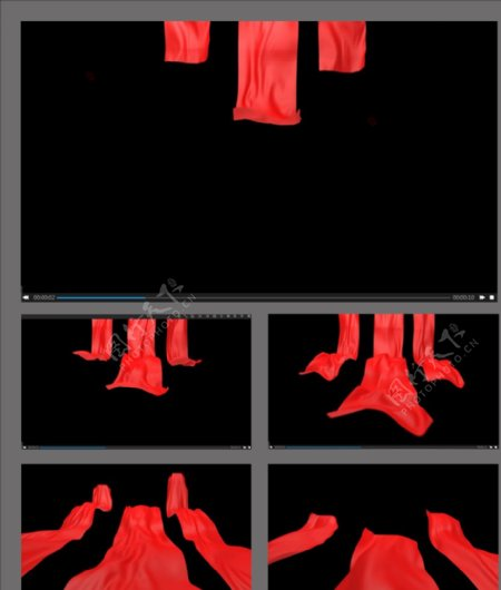 红丝绸飘动转场视频素材