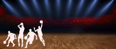 篮球场NBA海报展板背景