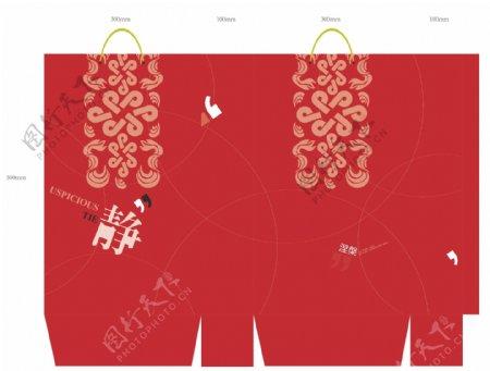 中国风古典风格手提袋设计模板