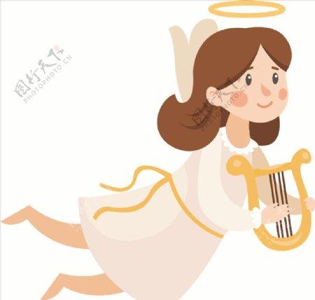 节日祝福天使矢量图