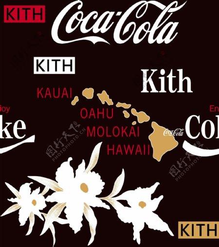 可口可乐英文字母标志大牌男印花