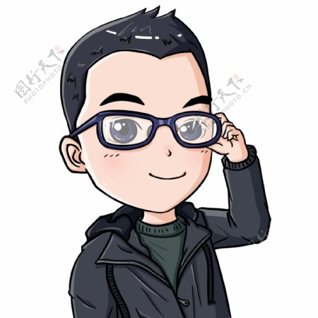 卡通Q版可爱戴眼镜扶眼镜男生头