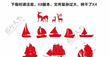 矢量帆船小鹿一帆风顺船多种简笔