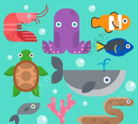 海洋动物设计矢量素材