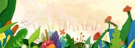 卡通花朵草丛背景图