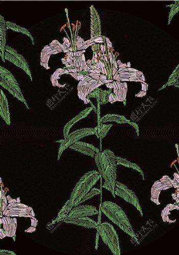 花卉植物四方连续绣花