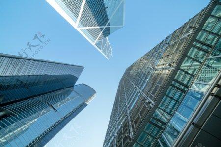 城市建筑企业天空蓝色背景素材