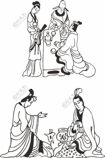 古代线描喝酒品酒中国风传统文化