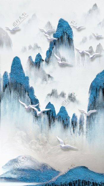 中式抽象山水装饰画