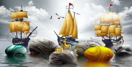 新中式大海帆船一帆风顺麋装饰画