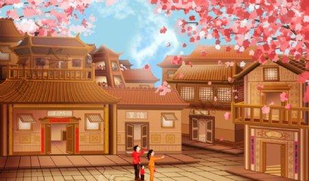 樱花木建筑城市国风插画背景素材