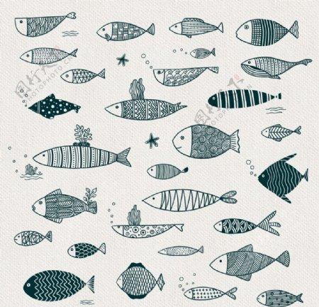 手绘卡通小鱼儿装饰元素