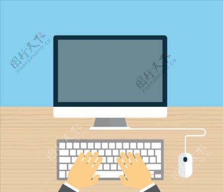 键盘上打字手