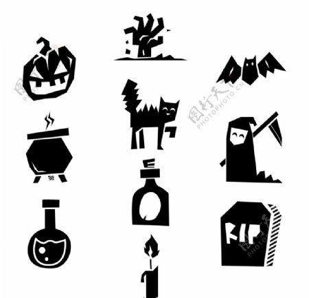 剪纸风夜晚恶魔卡通图案图片