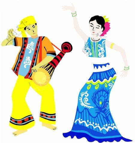 傣族少数民族卡通漫画人物舞蹈