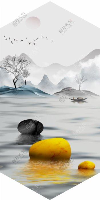 新中式金色石头意境山水风装饰画
