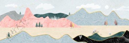 新中式莫兰迪意境山水风景装饰画