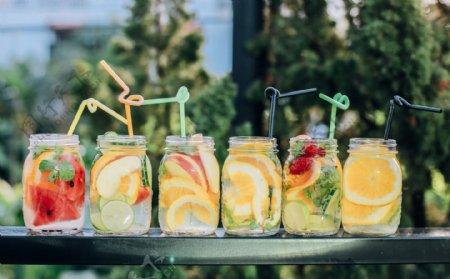 柠檬茶水果茶饮料夏季背景素材