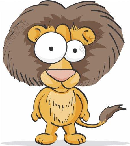 狮子搞笑搞怪动物卡通大眼睛