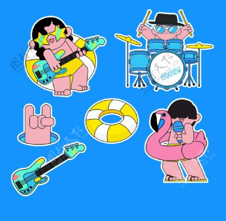 卡通乐队鼓手吉它插画