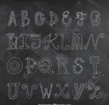 黑板上手工绘制字母表