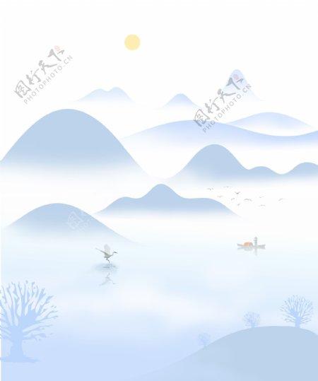 新中式山水背景墙图片